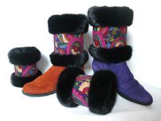 Leg & wrist warmers in fur, with wool embroidery from India. Muffedisser til støvler med pels & broderi. Handmade Jane Eberlein Samarkand, Copenhagen, Denmark. www.samarkand.dk
