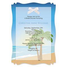 Beach - Personalized Bridal Shower Vellum Overlay Invitations