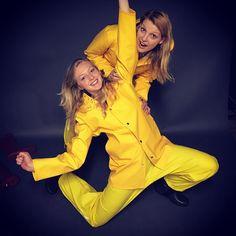 Rain Suit, Rain Pants, Yellow Coat, Yellow Raincoat, Happy Girls, Girls In Love, Pvc Raincoat, Girls Together, Rain Gear