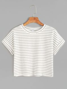 White Striped Short Sleeve Crop T-shirt