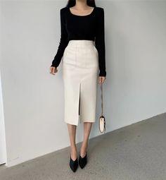 New beige faux leather high waist front slit midi length women pencil skirt - Skirts Ankara Dress Styles, Beige Style, Midi Length Skirts, High Waist, Fashion Dresses, Pencil, Leather, Women, Fashion Show Dresses