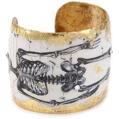 """EVOCATEUR """"Catacombs"""" 1895 Skeleton 22K Gold Leaf Cuff Bracelet"""