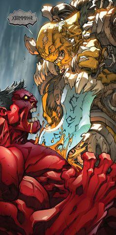 Ra'ktar vs Red Hulk by Joe Madureira