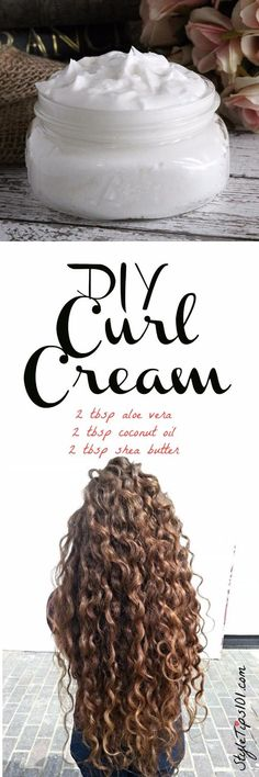 An all natural DIY curl cream that uses pure aloe vera gel, coconut oil, and shea butter to give you the healthiest, bounciest curls you've ever had! If you have curly or wavy hair, this DIY curl cream recipe will be right up your alley! Instead of satura Curly Hair Tips, Curly Hair Styles, Natural Hair Styles, Natural Beauty, Style Curly Hair, Natural Curly Hair, Curly Hair Growth, How To Grow Natural Hair, Frizzy Hair