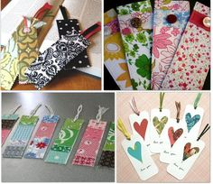 Great tutorials for making bookmarks.  These would be a fun party favors for a book themed party or bookclub or valentine's day.