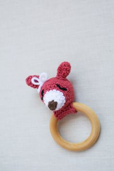 Baby Teether Rattle Toy Crochet Woodland Deer by AudrianasCloset