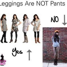 Here's some fashion sense: Leggings are not pants! If they were, they would be called pants. No one wants to see the shape of your buttocks and thighs, expect creepy horny men. How To Wear Leggings, Tight Leggings, Leggings Are Not Pants, Fashion Fail, Fashion Outfits, Modest Wedding Dresses, Business Outfits, White Outfits, Look Chic