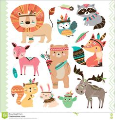 Illustration about Set of cute tribal animals in cartoon style. Illustration of rabbit, feather, smart - 74366735 Woodland Baby, Woodland Animals, Baby Animals, Cute Animals, Tribal Animals, Arte Country, Kids Birthday Party Invitations, Baby Drawing, Baby Kind