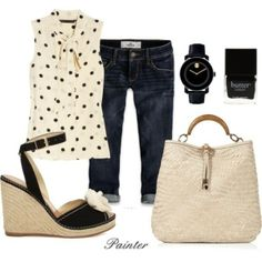 Cute Summer Outfit.- maybe with short denim shorts instead of capris, and black sandals instead of wedges.
