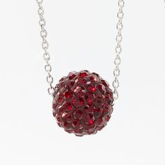 """HAPPY BIRTHDAY JANUARY!!! Whether it is your birthday month, or perhaps your child's, I have a beautiful piece to represent this special month!!  January Birthstone Necklace Siam crystal Ceralun™ pavé ball swings on a delicate rhodium plated chain; 15"""" to 18"""".  Swarovski  ONLY $36"""