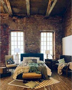 25 Breathtaking Industrial Bedroom Decor That Will Inspire You Ok Design, House Design, Design Ideas, Modern Design, Design Inspiration, Warehouse Living, Warehouse Loft, Industrial House, Industrial Design