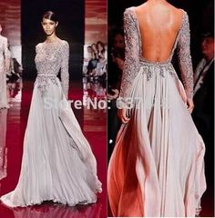 2014 Appliqued Zuhair Murad Evening Dresses Bateau Sheer Long Sleeve A Line Floor Length Chiffon Backless Evening Gowns-in Evening Dresses from Weddings & Events on Aliexpress.com | Alibaba Group