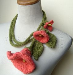 Knit Lariat  CORAL DREAMS / Fiber Art Necklace by yarncoture, $50.00