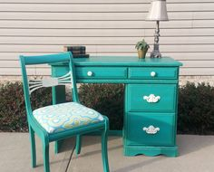 Shabby Chic Teal Desk & Antique Chair in Annie Sloan Chalk Paint in Florence and Old White on Etsy, $300.00