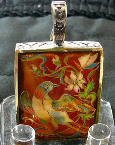 Hand Painted Bird Cameo Pendant Sterling Silver Bird/Flower Carnelian Gemstone Artist Signed Art Jewelry Ladies Holiday Gift Women Accessory (69.95 USD) by SylCameoJewelsStore