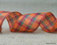 """Orange, Cranberry and Green Fall Plaid Wired Ribbon, 2 1/2"""" wide from the CottageCraftsOnline.com shop on Etsy"""