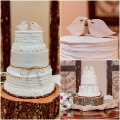 Simple White Wedding cake with Carved Birds as Cake Topper
