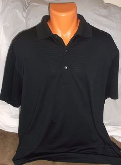 7a91b04a Details about Men's Polo Golf Shirt JACK NICKLAUS Black Polyester SZ: XL  XLarge Athletic Golf