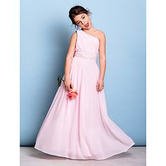 9823a722f06da6   66.49  A-Line One Shoulder Floor Length Chiffon Junior Bridesmaid Dress  with Beading   Sash   Ribbon   Side Draping by LAN TING BRIDE®   Natural