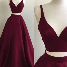 S45 simple a-line two-piece v-neck burgundy long prom evening dress