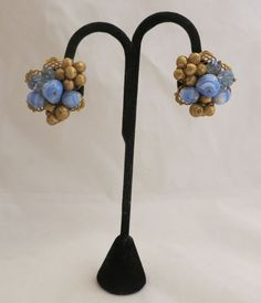 Vintage Blue & Gold Clip on Cluster Earrings Unsigned Miriam Haskell #UnsignedMiriamHaskell