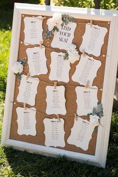 Cork board wedding seating chart on photo frame #outdoorwedding #weddingseatingplan #seatingchart #summerwedding