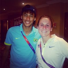 Heather O'Reilly with Brazilian star Neymar. (heatheroreilly/Instagram)