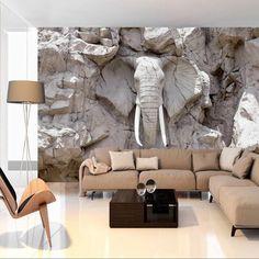 Elephant Decor for Living Room Fototapet Stone Elephant Wallpaper Decor 3d Wallpaper Mural, Photo Wallpaper, Elephant Wallpaper, Interior Design Living Room, Living Room Decor, Elegant Living Room, Wall Design, Wall Murals, House