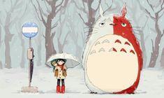 Izuku, Katsuki, Shouto, funny, My Neighbor Totoro, Studio Ghibli, crossover, snowing, winter; My Hero Academia