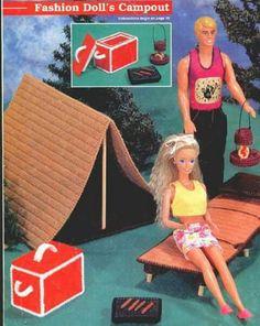 Campout 1 Plastic Canvas Books, Plastic Canvas Tissue Boxes, Plastic Canvas Crafts, Plastic Canvas Patterns, Doll House Crafts, Doll Houses, Barbie Camper, Diy Barbie Furniture, Canvas Designs