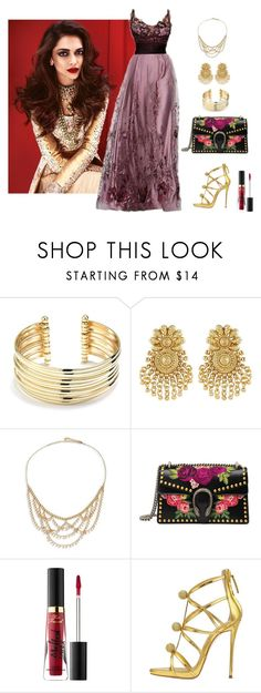"""""""Indian Wedding Style"""" by fashionfan-8 ❤ liked on Polyvore featuring Belk Silverworks, Chan Luu, Gucci, Too Faced Cosmetics and Giuseppe Zanotti"""