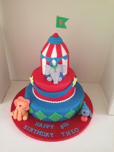 Cute Circus children's birthday cake by www.boutiquebakehouse.co.uk