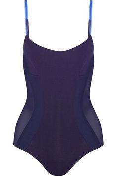 La Perla - Plastic Dream Tulle-paneled Swimsuit - Navy - 0B