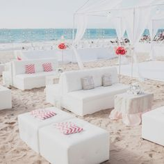reception seats ideas for white and red beach wedding summer 2014 #elegantweddinginvites