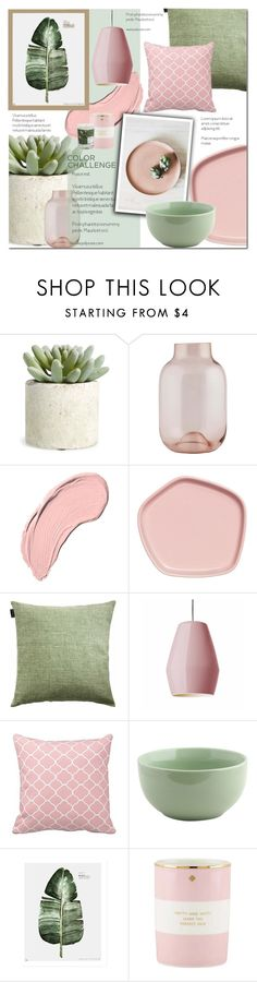 """Green n Blush"" by dian-lado ❤ liked on Polyvore featuring interior, interiors, interior design, home, home decor, interior decorating, Allstate Floral, House Doctor, NYX and LINUM"