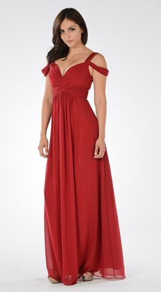 e14ab61db194 Poly USA 7883 Plunging neck, empire waist with strappy shoulder, ruched  bodice long gown. This beautiful dress is available in navy blue.