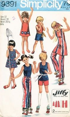 Simplicity Pattern 9391 Vintage 70's Girls Jiffy Dress and Top! Complete Size 12, $6.00