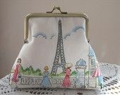 Medium  Kisslock Snap Coin Purse Eiffel Tower Cafe Rouge Made in USA Antiquebasketlady - pinned by pin4etsy.com