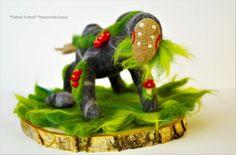Guardian of Nature Amanita, deer soft sckulpture, Deer Art, felt decor, mushroom deer art, woodland, stone, fantasy creature by MrsOwlWorkshop on Etsy