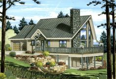 Dream House in the Mountains- with garage- A-Frame House Plan chp-49916 at COOLhouseplans.com