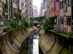 The Shibuya river in Tokyo, Japan