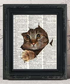 Kitty Cat Tearing Through the Page Dictionary Art Print