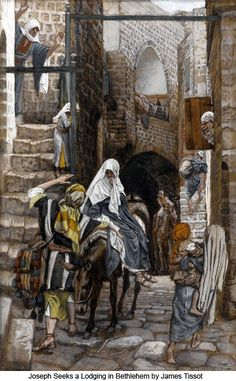 Saint Joseph Seeks Lodging In Bethlehem by Catholic artist James Tissot ~ gouache on paperboard ~ Jesus Mary Holy Family Nativity Religious Paintings, Religious Art, St Joseph, Brooklyn Museum Of Art, Life Of Christ, Blessed Mother Mary, Biblical Art, Catholic Art, Catholic Religion