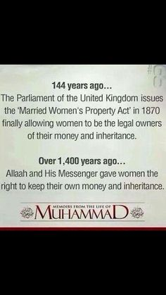 Women's rights established in 600 c. from the beginning of Islam.that's how Islam really treats women. Islamic Qoutes, Islamic Teachings, Muslim Quotes, Islamic Inspirational Quotes, Islamic Msg, Motivational Quotes, Quotes Positive, Islam Religion, Islam Muslim