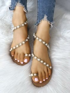 a682cbcb7b0 Shop Beading Decorated Toe Ring Flat Sandals – Discover sexy women fashion  at IVRose