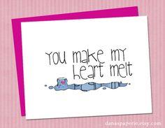 """I love you card - You make my heart melt card, boyfriend card, girlfriend card, Cute I love you card - 4.25""""x5.5"""""""