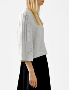 boucle pointelle stripe sweater