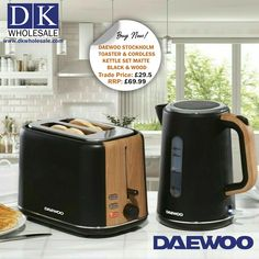 Daewoo Stockholm 2 Slice Toaster & Cordless Kettle Set Matte Black & Wood Finish Toaster Information: The Stockholm 2 slice wood effect toaster is perfect for toasting different sizes and thicknesses of bread easily and to your exact requirements. Key features include: Full functions include cancel, reheat and defrost modes. Domestic Appliances, Fruit Juicer, Toaster, Black Wood, Kitchen Gadgets, Stockholm, Kettle, Matte Black, Food Processor Recipes