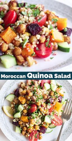 A Moroccan Salad with Quinoa and Chickpeas — soon to be your new favorite lunch! This healthy and hearty vegan quinoa chickpea salad is loaded with veggies and plant proteins, and pulled together with a bright and zippy lemon vinaigrette.