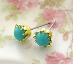 Vintage Round Turquoise Glass Jewels Set in Tiffany Brass Setting Post Earrings